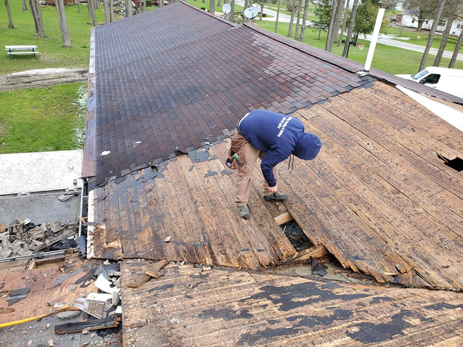 Roof replacement with wood rot.