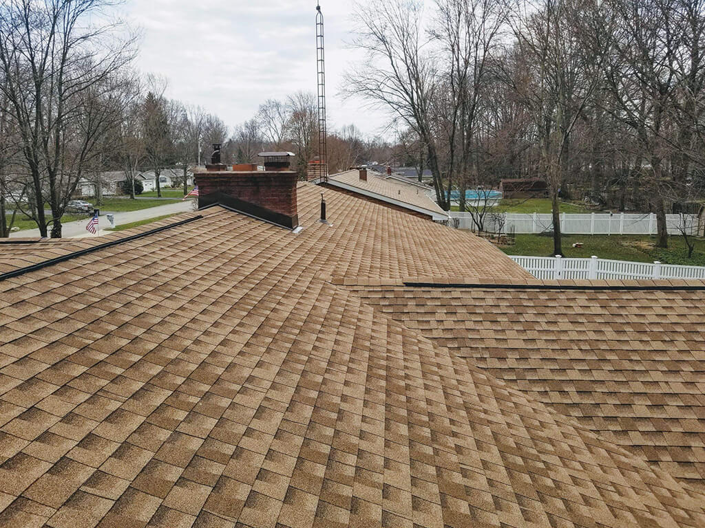 Up close look at a newly installed roof.