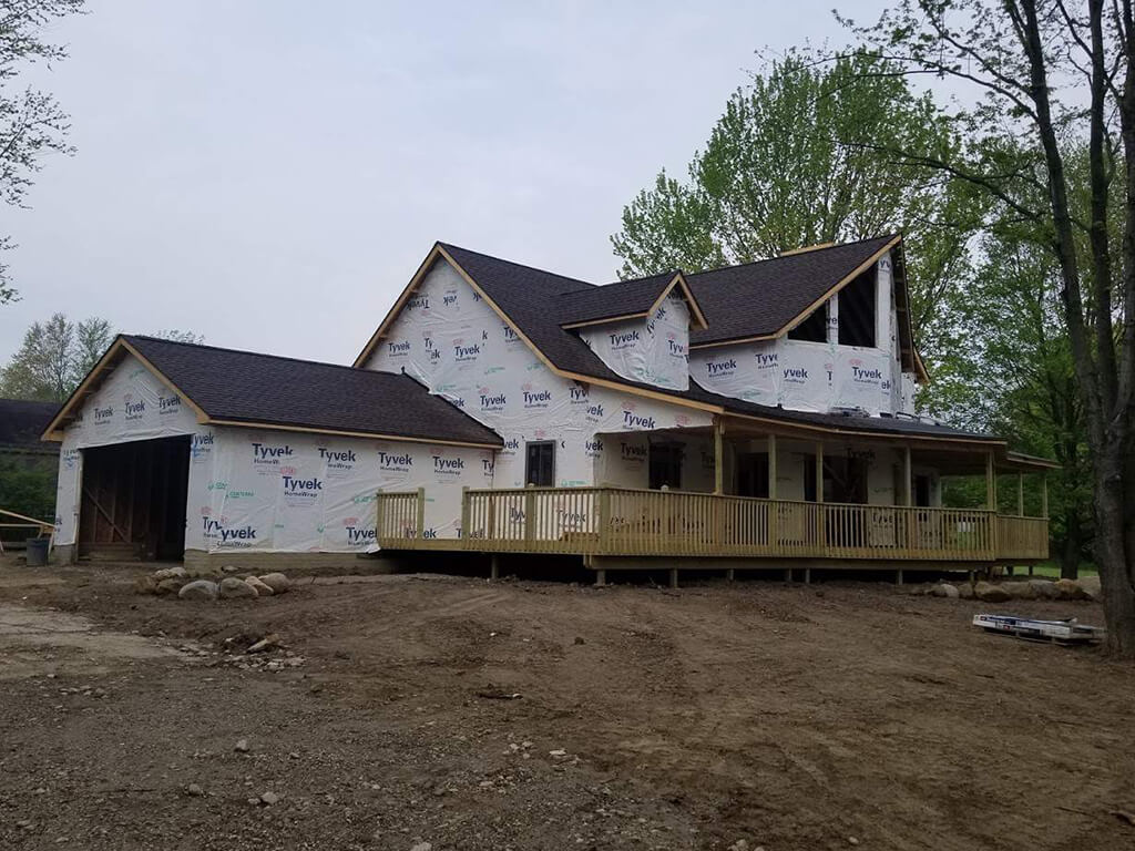 A roof installed on a new construction home.